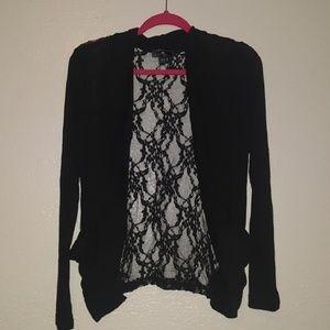 Black Open Cardigan w/ Lace Back by Iris Basic